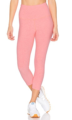 Spacedye High Waist Capri Legging in White & Coral Reef