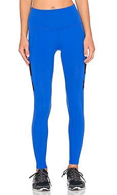 Beyond Yoga High Waist Stripe Mesh Long Legging in Bright Lapis