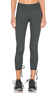 Beyond Yoga Lace Up Capri Legging in Heather Grey