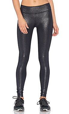 Beyond Yoga Shimmer Essential Long Legging in Black & Silver Foil