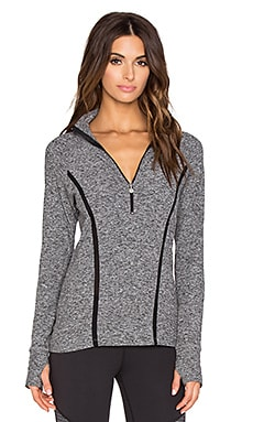 Beyond Yoga Space dye Lattice Half-Zip Pullover in Black & White
