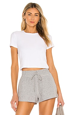 Ruched Down Cropped Tee Beyond Yoga $64