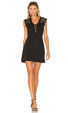 Lace Inset Dress in Black
