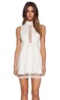 BCBGeneration Mock Neck Layered Dress in Whisper White