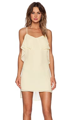 BCBGeneration Flounce Front Dress in Pale Lemon