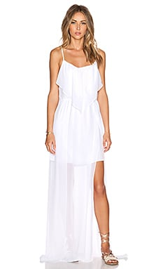 BCBGeneration Woven Evening Dress in Optic White