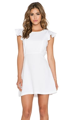 BCBGeneration Back Ruffle Dress in Whisper White