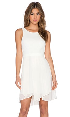 BCBGeneration Jacquard Bodice Dress in Whisper White