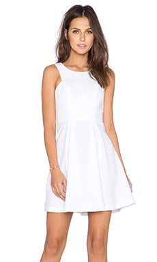 BCBGeneration Contrast Lace Dress in Optic White