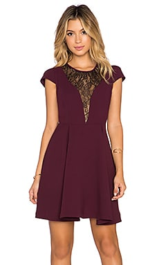 BCBGeneration Lace Front Mini Dress in Deep Maroon