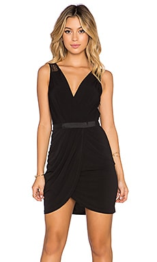 BCBGeneration V Neck Mini Dress in Black
