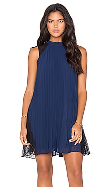 BCBGeneration Pleated Lace Dress in Deep Blue