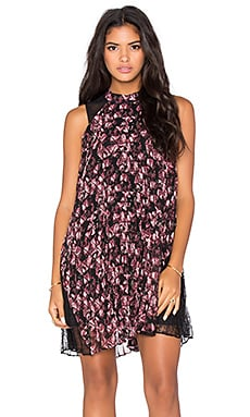 BCBGeneration Floral Lace Dress in Crushed Berry Multi