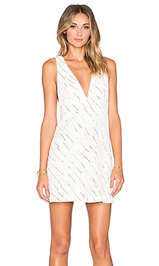 BCBGeneration V-Neck A-Line Dress in Cream & Gold Combo