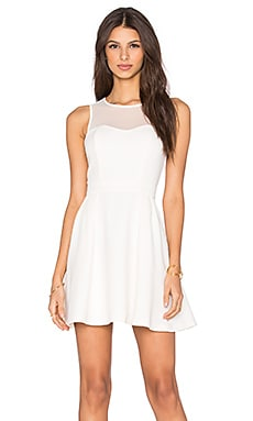 BCBGeneration Mesh Skater Dress in Whisper White