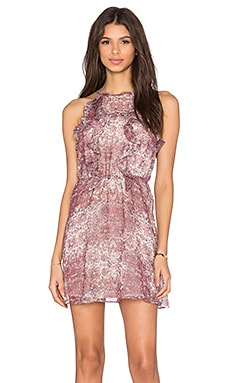 BCBGeneration Ruffle Front Fit & Flare Dress in Mauve Mist Combo