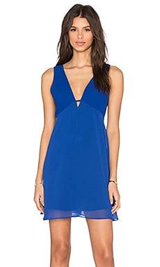 BCBGeneration Deep V Fit & Flare Mini Dress in Electric Blue