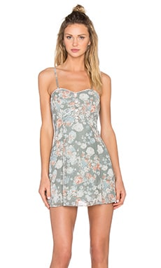 BCBGeneration Floral Fit and Flare Dress in Slate Multi