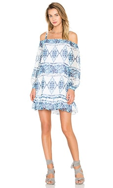 BCBGeneration Cold Shoulder Halter Dress in Blue Combo