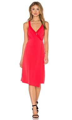 BCBGeneration Drape Front Midi Dress in Red Chili