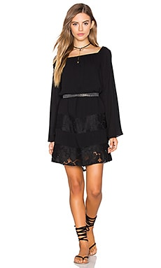BCBGeneration Off Shoulder Peasant Dress in Black
