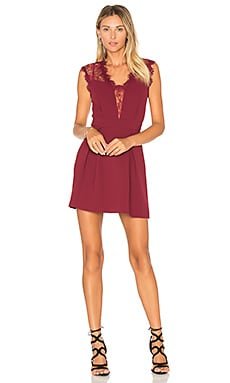 Sheer Fit & Flare Dress in Wine Red