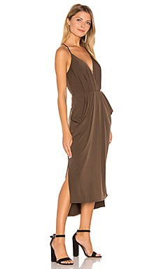 Faux Wrap Midi Dress in Coffeebean