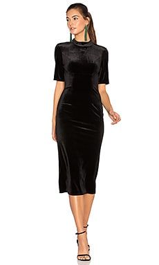 Velvet Midi Dress in Black