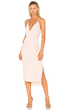 Midi Faux Wrap Dress In Rose Smoke