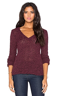 BCBGeneration V Neck Sweater in Deep Maroon
