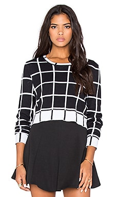 BCBGeneration Long Sleeve Plaid Sweater in Black Combo