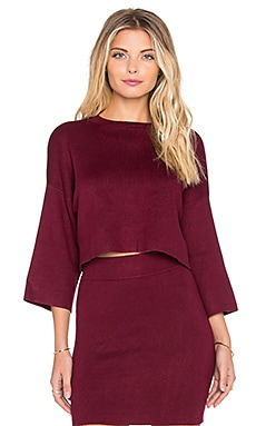 BCBGeneration Mock Neck Crop Sweater in Wine