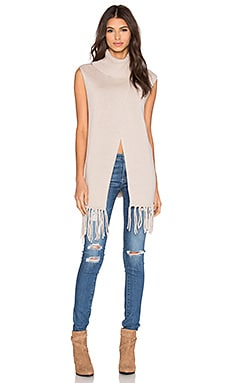 BCBGeneration Fringe Turtleneck in Nude
