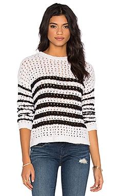 BCBGeneration Striped Sweater in White Combo