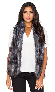 Faux Fur Vest in Gunmetal Combo