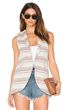 Crochet Stripe Sleeveless Blazer in Sand Combo