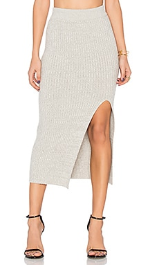 Rib Slit Skirt en Gris Chiné Light