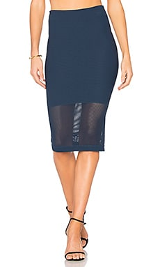 Mesh Panel Skirt in Dark Navy