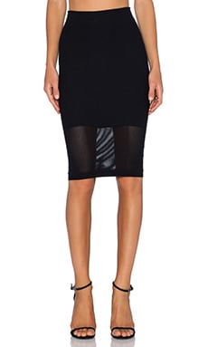 BCBGeneration Mesh Panel Skirt in Black