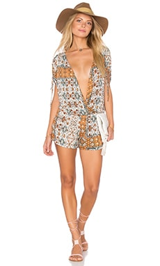 Mosaic Print Romper in Orange Begonia Combo