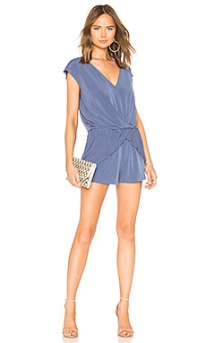 Overlapping Pleated Romper In Blue Smoke BCBGeneration $68 BEST SELLER