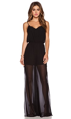 BCBGeneration Sheer Overlay Romper in Black