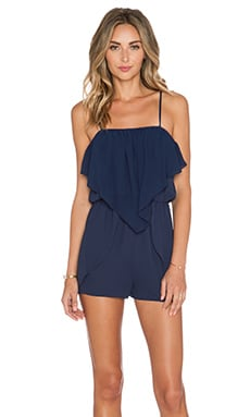 BCBGeneration Ruffle Romper in Deep Blue