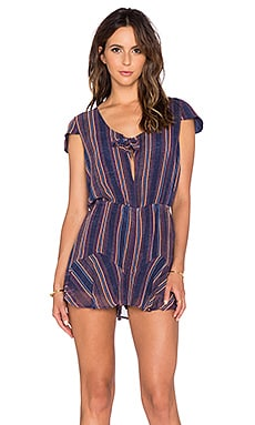 BCBGeneration Knot Front Romper in Deep Blue Multi