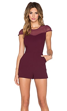 BCBGeneration Lace Romper in Deep Maroon