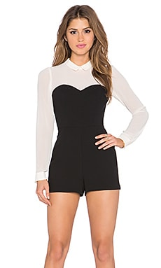 BCBGeneration Bustier Shirt Romper in Black Combo