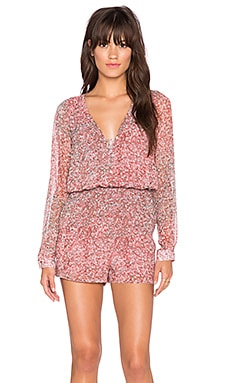 BCBGeneration Button Front V Neck Romper in Cedar Rose Combo