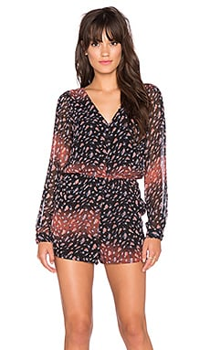 BCBGeneration Button Front V Neck Romper in Black Multi