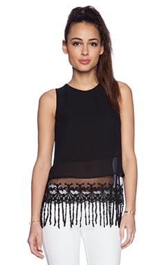 BCBGeneration Lace Hem Tank in Black