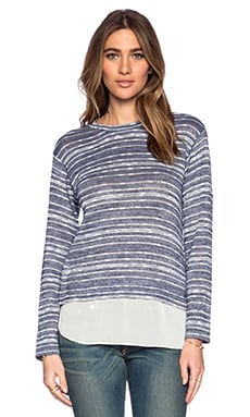 BCBGeneration Long Sleeve Knit Top in Navy Combo